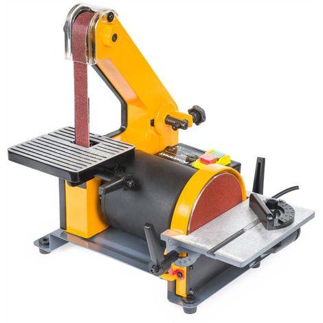 POWER TOOL | Ponceuse à bande et à disque d'établi Vitesse 960 t/min + 450W | Touret combine électrique | Outil ponçage atelier - Jaune