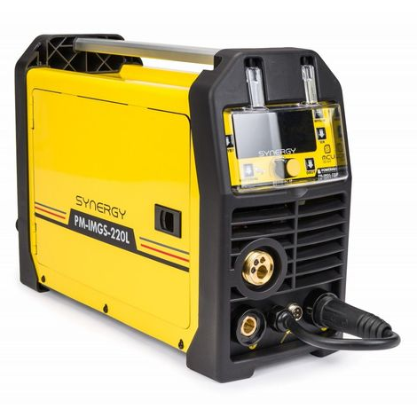 POWER TOOL | Poste à souder semi-automatique Synergic MIG/MAG + MMA / LIFT-TIG 30 - 220A | 30 - 220A | Technologie Inverter | Jaune - Jaune