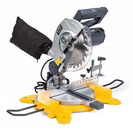 POWER TOOL | Scie à onglet de précision 2100W 4500/min-1 | Angle de coupe 0-45° | Guidage laser | Coupe bois atelier chantier - Jaune