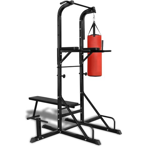 Power Tower with Sit-up Bench and Boxing Bag - Black