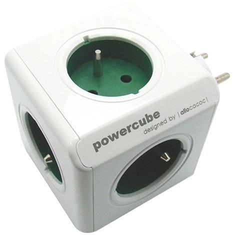 Multiprise élec. Powercube Bloc 5 prises - vert