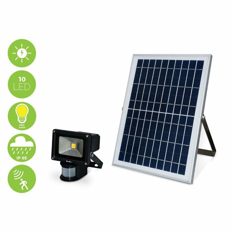 Image of Alice's Garden - Powerful 10W 900 lumen solar LED floodlight, motion detector, water resistant exterior, 6000mAh lithium battery, self-contained