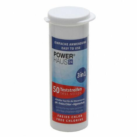 POWERHAUS24 Teststäbchen 3 in 1 Teststreifen Teststrips für Chlor, pH Wert und Algenschutz, für Pool und Whirlpool, 50 Stück