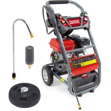 PowerKing Mega Blaster 200 Petrol Pressure Washer, Curved Lance, Turbo Nozzle & Patio Cleaner