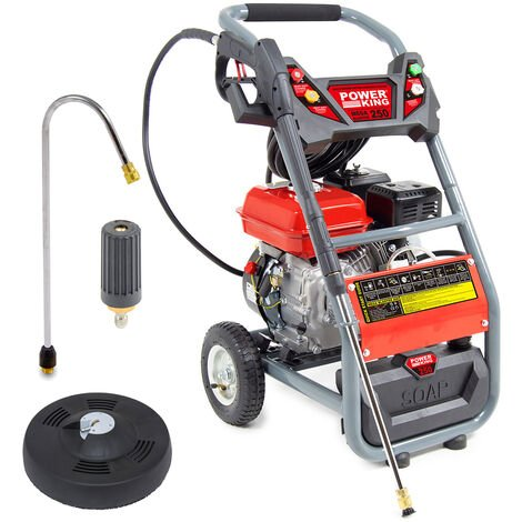 PowerKing Mega Blaster 250 Petrol Pressure Washer, Curved Lance, Turbo Nozzle & Patio Cleaner
