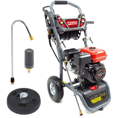 PowerKing Mega Blaster 300 Petrol Pressure Washer, Curved Lance, Turbo Nozzle & Patio Cleaner