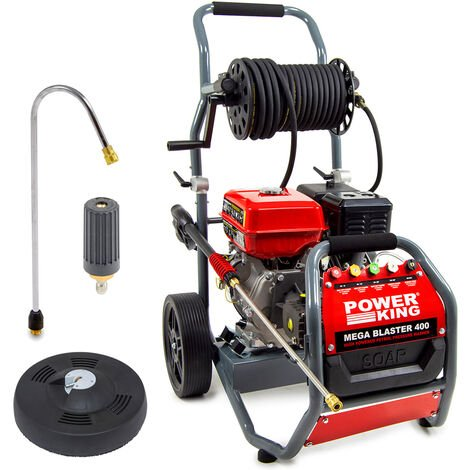 PowerKing Mega Blaster 400 Petrol Pressure Washer, Curved Lance, Turbo Nozzle & Patio Cleaner