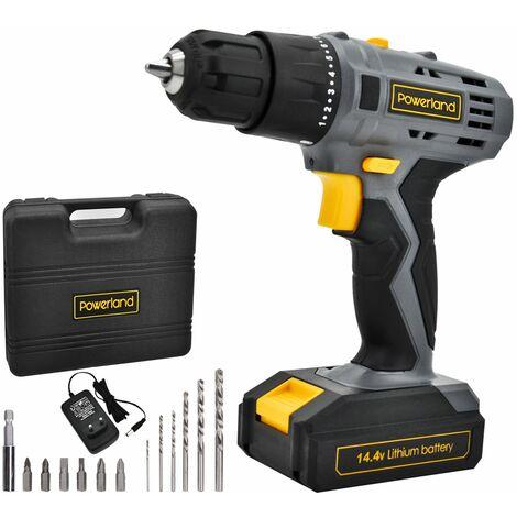 Powerland Taladro Percutor y Destornillador 18 V + Velocidad ajustable (0 - 350/0 - 1300 rpm) + Batería de Litio Ion + 13 accesorios + Cargador
