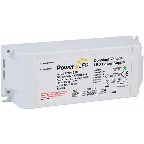 PowerLED PCV12100-REV-C Constant Voltage LED Power Supply 12V 8.33A 100W
