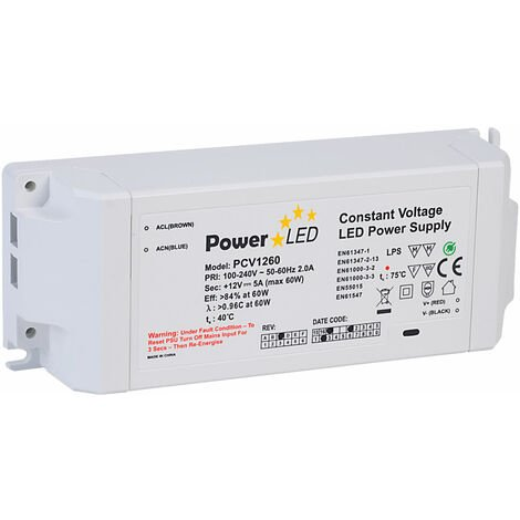 PowerLED PCV1260-REV-C Constant Voltage LED Power Supply 12V 5A 60W