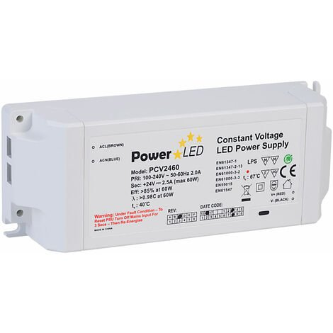 PowerLED PCV2460-REV-C Constant Voltage LED Power Supply 24V 2.5A 60W