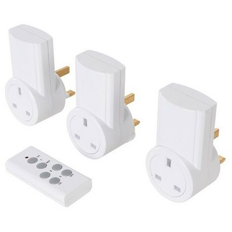 PowerMaster 550077 Wireless Remote Control Power Socket Pack of 3 UK 13A 240V