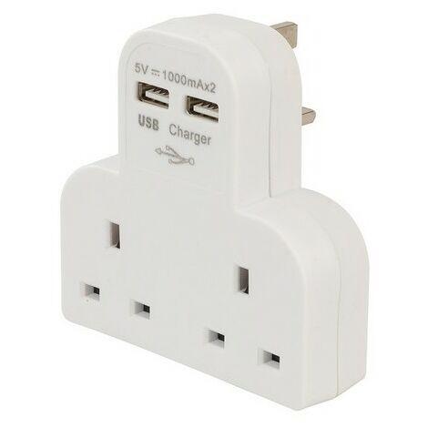 PowerMaster 819066 Dual Socket T Adaptor with Twin USB 2100mAh Combined