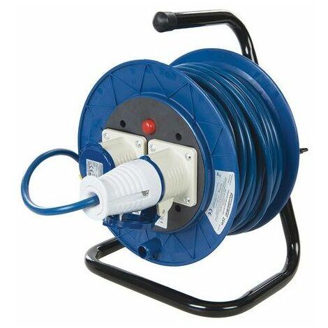 PowerMaster 851543 Industrial Cable Reel 16A 230V Freestanding 2-Gang 25m