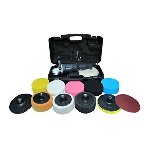PowerStorm® Car Polisher Buffer Sander with Carry Case Plus 12 Car Polisher Heads DELUXE PLATINUM Pack Fantastic Value