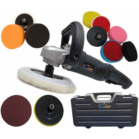 PowerStorm® Car Polisher Sander Buffer with Carry Case Plus 12 Car Polisher Heads