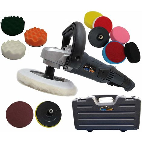 Powerstorm® Car Polisher Sander Buffer with Carry Case Plus 12 Car Polisher Heads PLATINUM WAVY Pack