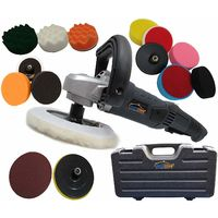 PowerStorm® Car Polisher Sander Buffer with Carry Case Plus 15 Car Polisher Heads DELUXE PLATINUM Pack