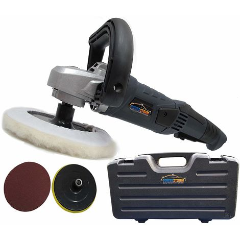 PowerStorm® Car Polisher Sander Buffer with Carry Case Plus 3 Car Polisher Heads B