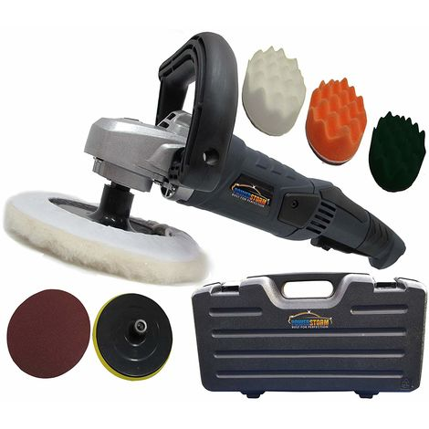 PowerStorm® Car Polisher Sander Buffer with Carry Case Plus 3 Wavy Sponges and 3 Car Polisher Heads