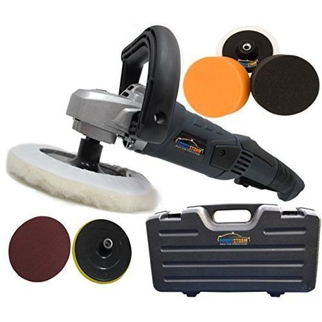 Powerstorm® Car Polisher Sander Buffer with Carry Case Plus 6 Car Polisher Heads GOLD Pack B