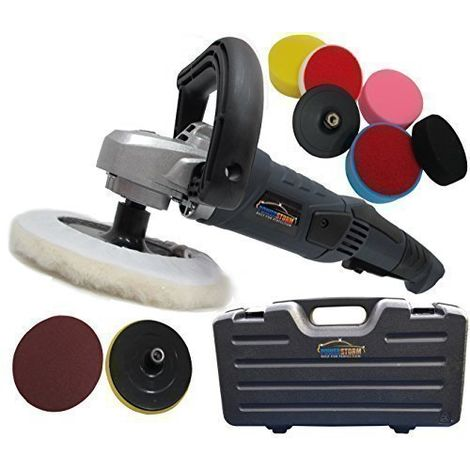 PowerStorm® Car Polisher Sander Buffer with Carry Case Plus 9 Car Polisher Heads PLATINUM Pack B
