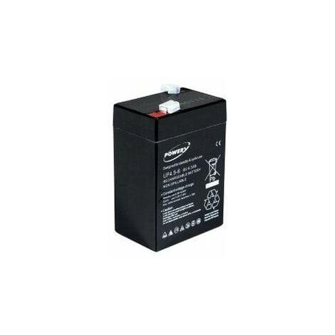 Powery Batería de GEL para Vehículo infantil Peg Perego Feber Injusa Smoby Diamec 6V 4,5Ah (Reemplaza también 4Ah 5Ah)