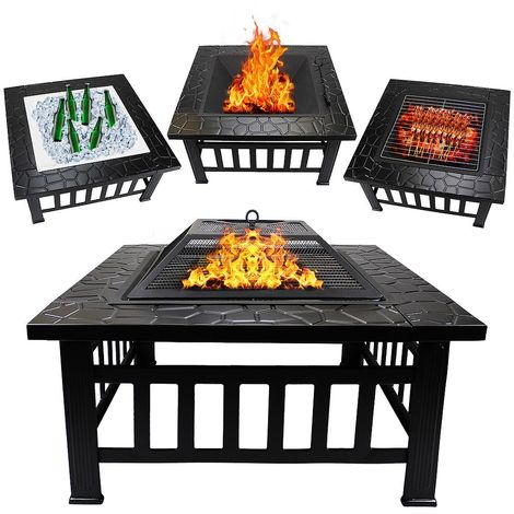 Pozo de Fuego 3 in 1, Brasero BBQ, 81 x 81 x 45 cm, Negro, Material: Acero