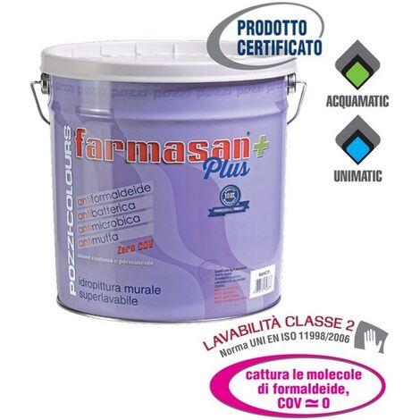 Pozzi 14 Lt Farmasan plus idro pittura lavabile bianca antibatterica antimuffa ed antimicrobica per scuole ospedali e luoghi dove richiesto alto grado di igiene
