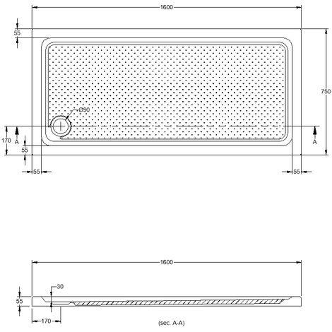 Practic plato de ducha acrílico 160X75 cm