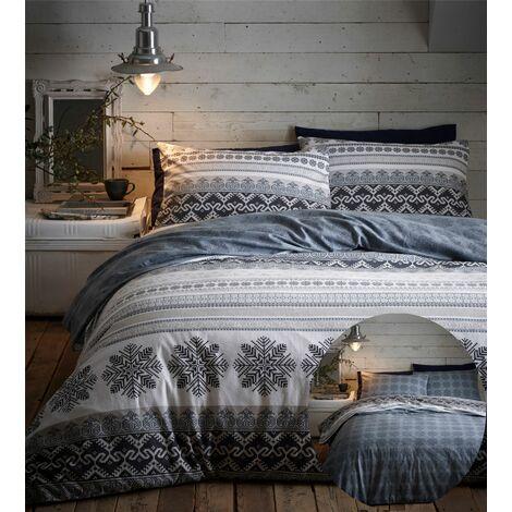 Prague Flanelette Double Duvet Cover Bedding Bed Set Reversible Natural Grey