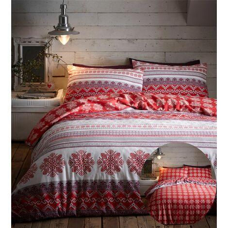 Prague Flanelette Double Duvet Cover Bedding Bed Set Reversible Red