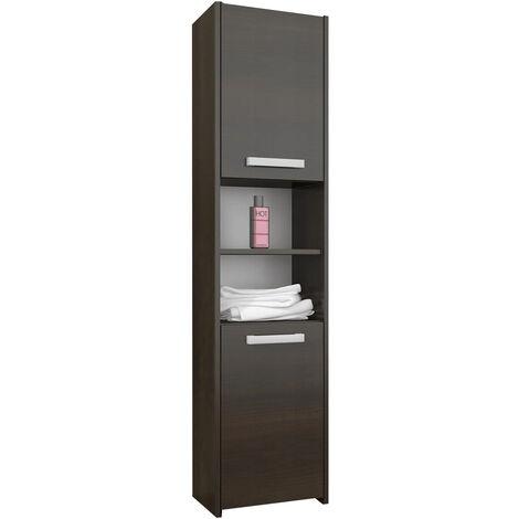 PRAGUE | Meuble Colonne de salle de bain 30x30x170 | Rangement salle de bain contemporain | Armoire Toilette | Colonne moderne | Wenge - Wenge