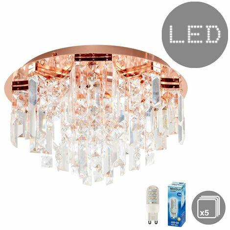 Prague Semi Flush Ceiling Light Fitting + 3W LED G9 Bulbs - Copper - Copper