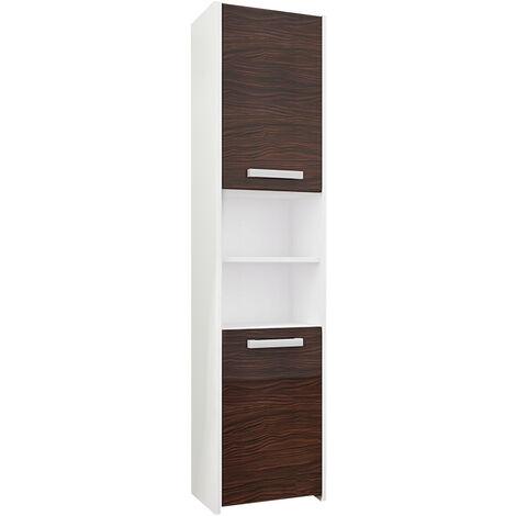 PRAGUE W1 | Meuble Colonne de salle de bain 30x30x170 | Rangement salle de bain contemporain | Armoire Toilette | Colonne rangement | Blanc/Eben - Blanc/Eben