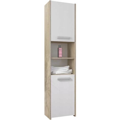 PRAGUE W1 | Meuble Colonne de salle de bain 30x30x170 | Rangement salle de  bain contemporain | Armoire Toilette | Colonne rangement | Sonoma/Blanc