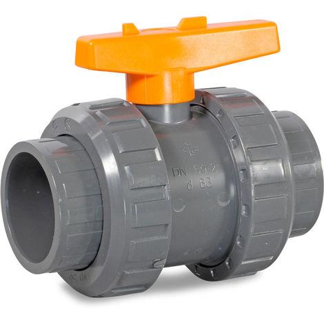 Praher 2-Wege d75mm Kugelhahn PVC Klebeanschluß