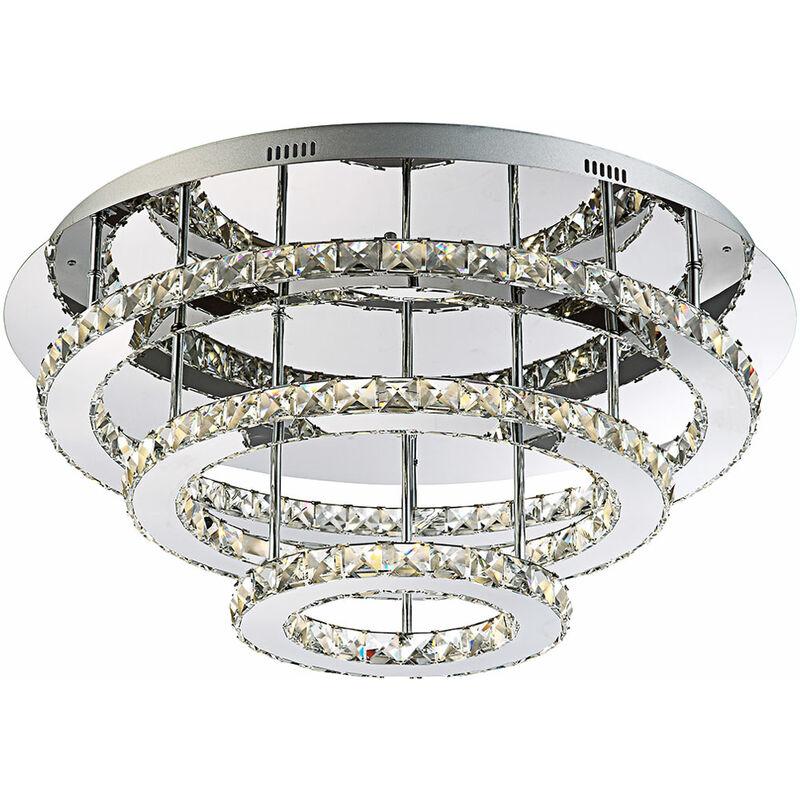 Elegante LED Deckenleuchte chrom K9 Kristalle klar 54W - Globo MARILYN 67032-54
