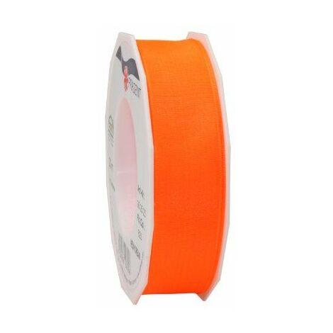 Prasent Neon Dream Ruban taffetas renforcé de fil de fer Orange fluo 25 mm x 20 m