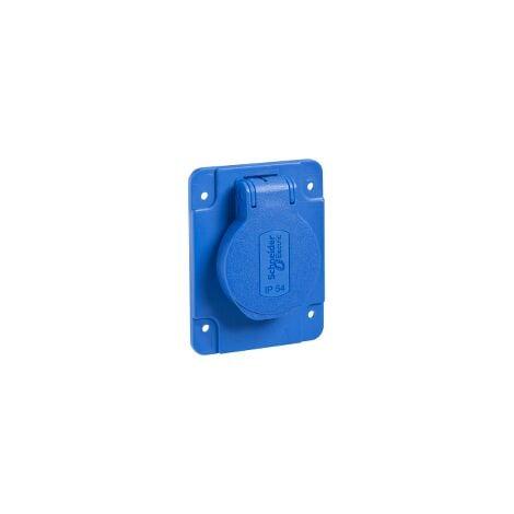PratiKa - socle de prise NF 65x85mm - 2P+T 10-16 A - IP54 - connex. arr. - bleu - PKN61B