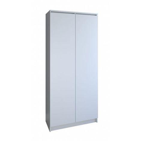 PRATO | Meuble de rangement portes 8 casiers/2 tiroirs bureau/salon/chambre 180x80x35 | Bibliothèque contemporaine | Etagères livres | blanc - blanc