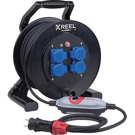 PRCD-S+Enrouleur de cable de securite XREEL 310, 4x prises Schuko, cable 10m, HO7RN-F 3G2,5