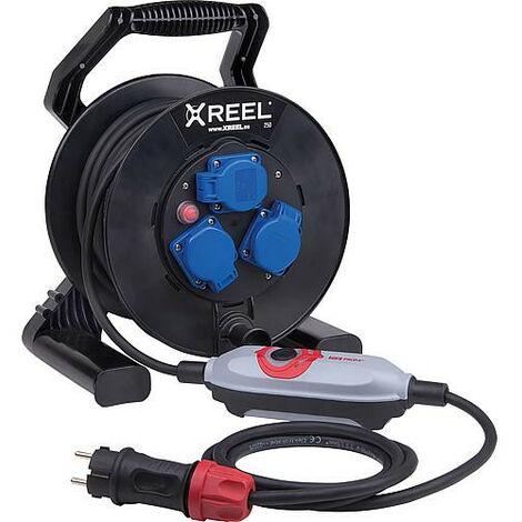PRCD-S+Enrouleur de cables de securite XREEL 250, 3x prises Schuko, 25m cable, H07RN-F 3 G1,5
