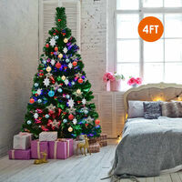 Pre-lit Artificial Fiber Optic Christmas Tree Xmas Light Decoration 4FT UK
