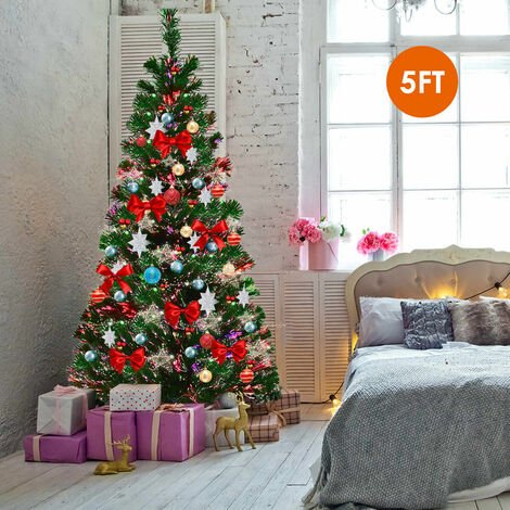 Pre-lit Artificial Fiber Optic Christmas Tree Xmas Light Decoration UK