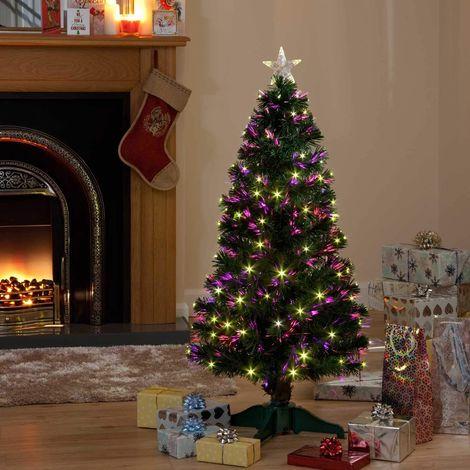 Pre-Lit Galaxy Fibre Optic Led Christmas Tree - Multi Colour with Star
