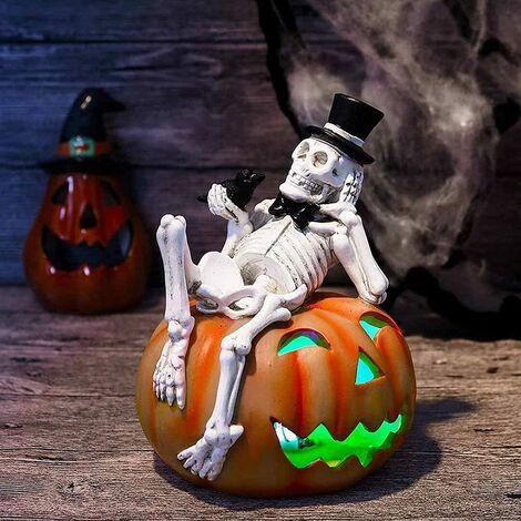 "main image of ""Pre-lit Halloween Graveyard Skeleton Skull Pumpkin Lantern, Colorful Fun Decoration LED Battery Powered Happy Halloween Theme (Battery Free)"""