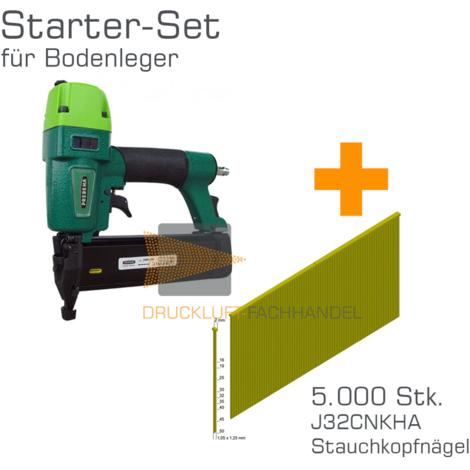Prebena Druckluftnagler 2XR-J50 + J32CNKHA Stauchkopfnägel - Starter-Set für Bodenleger