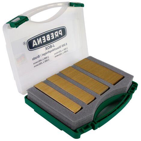 Prebena J-BOX CNKHA Stauchkopfnägel Brads Typ J aus Stahl verzinkt geharzt galvanisiert - 8.000, verschiedene Längen