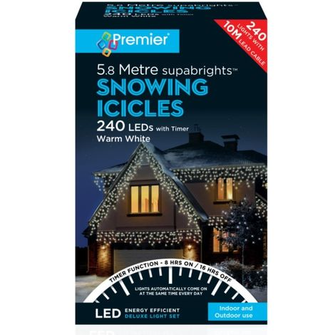Premier 240 LED Snowing Icicles with Timer - Warm White